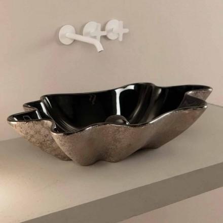 Bordplade i sort og sølv keramisk design lavet i Italien Rayan