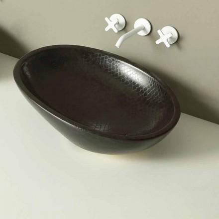 Countertop design keramisk sort python håndvask lavet i Italien Glossy