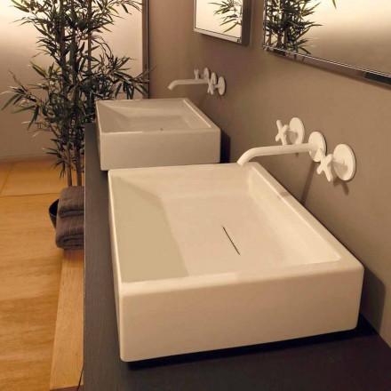 Design rektangulær keramisk håndvask lavet i Italien Dalia