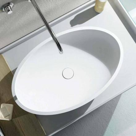 Oval håndvask til bordplader produceret 100% i Italien, Frascati