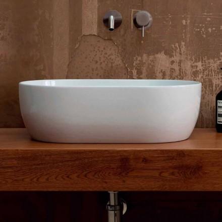 Håndvask i hvid keramik eller farvestoffer stjerne 55x35 lavet i Italien