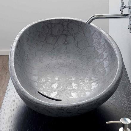 Bordtæppe i grå kokosnødtryk keramik lavet i Italien Glossy