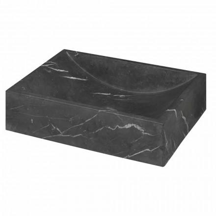 Firkantet sort marquinia marmor håndvask håndvask Fremstillet i Italien - Bernini