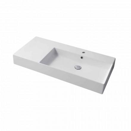 Højre bordplade med enkelt hul eller vægmonteret vask i keramisk Leivi