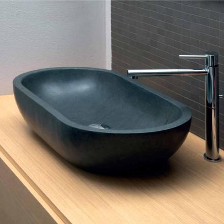Oval håndvask i sort basalt Riau