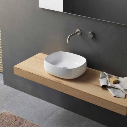 Bordvask i hvid keramisk moderne ovalt design - Tune3