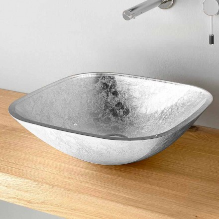 Firkantet køkkenhåndvask i bladdekoreret glas fremstillet i Italien - Wandor