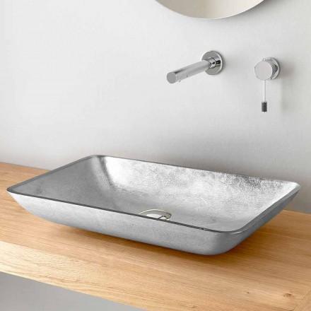 Rektangulær håndvask i guld, sølv eller kobberbladglas - Wandor