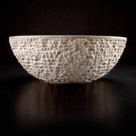 Rund bordhåndvask håndlavet i hvid marmor - linned