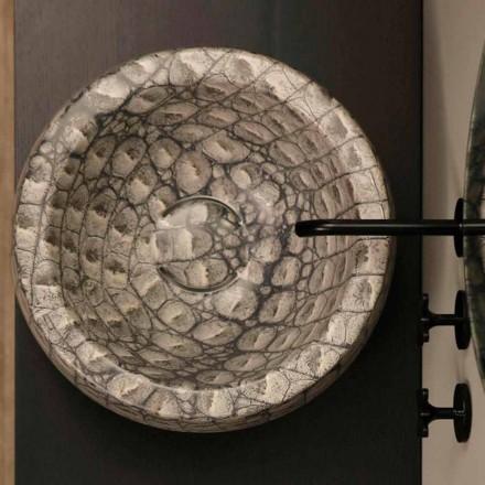 Caiman keramiske runde bordtæppe lavet i Italien Elisa design