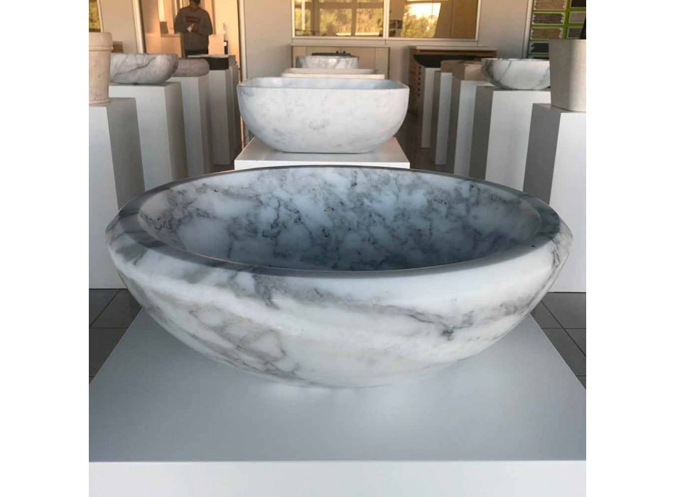 Rund bordplade håndvask i hvid Carrara-marmor fremstillet i Italien - Canova