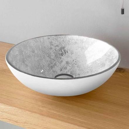 Rund håndvask i bordplade af glas, fremstillet i Italien - Wandor