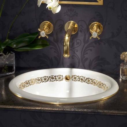 Indbygget badeværelse vask i ild ler og 24k guld lavet i Italien, Otis