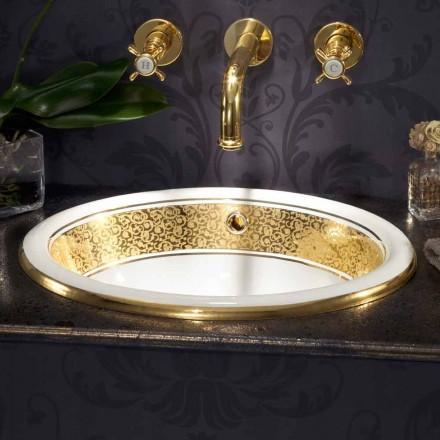 Cirkulær indbygget vask i ild ler og 24 k guld lavet i Italien, Otis