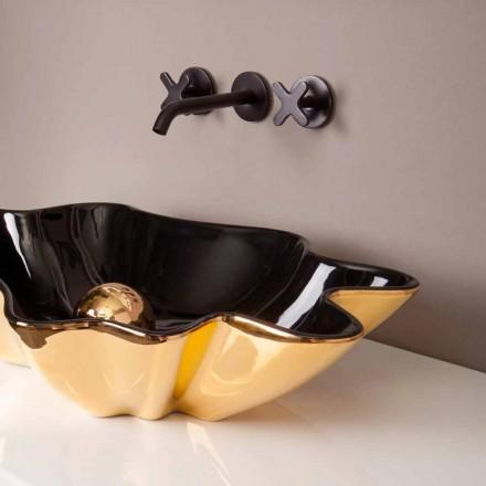Designer håndvask keramisk sort og guld lavet i Italien Rayan