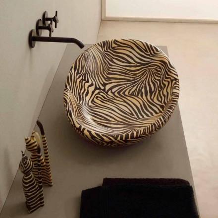 Design keramisk bordtæppe med orange sebra lavet i Italien Glossy