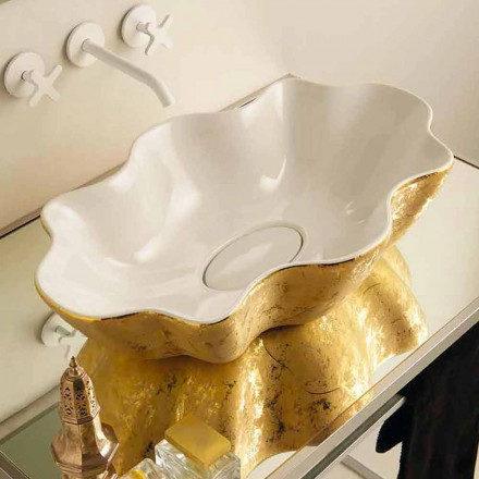Bordtæppe design håndvask i hvid og guld keramik lavet i Italien Cubo