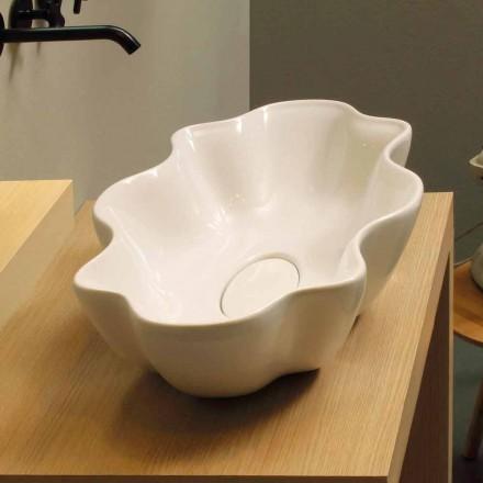 Moderne design håndvaske i hvid keramik lavet i Italien Cubo