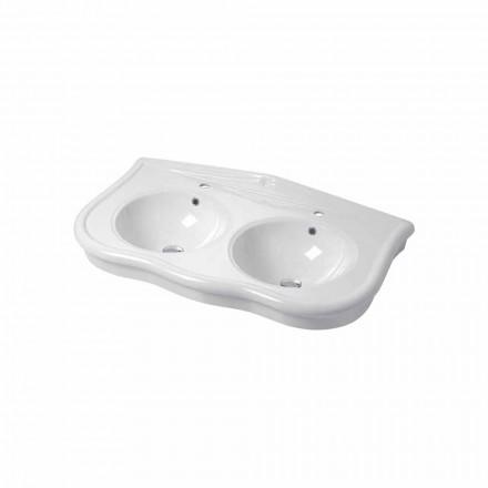 Moderne konsol eller vægmonteret dobbelt håndvask i keramisk Avise