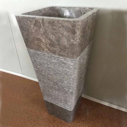Pedestal grå håndvask i Taffy sten, unikt stykke