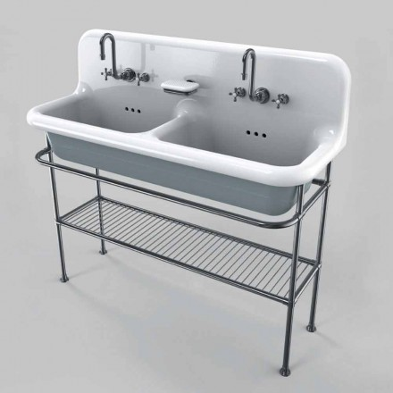 keramisk vask med to skåle en støtte struktur Calvin
