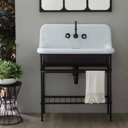 Håndvask fuld keramiske vintage struktur og metalgitter Taylor