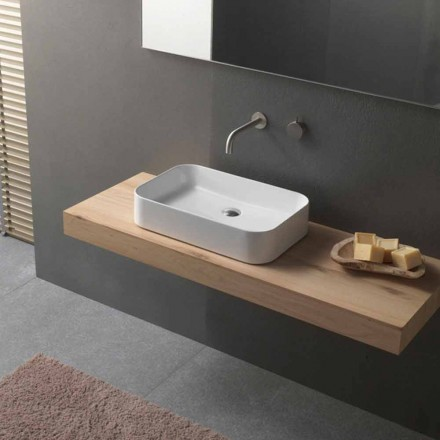 Moderne design rektangulær bordplade keramisk håndvask - Tangulo