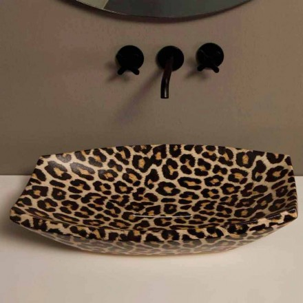 Cheetah keramisk håndvask lavet i Italien af Laura