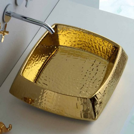 Moderne bordplade guldkeramisk håndvask produceret i Italien Simon