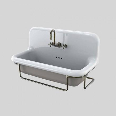 Rektangulær keramisk håndvask med metal base suspenderet Felipe