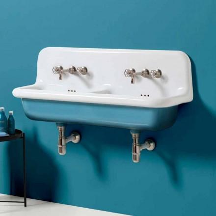 Moderne håndvask væg dobbelt skål i keramik design Jack