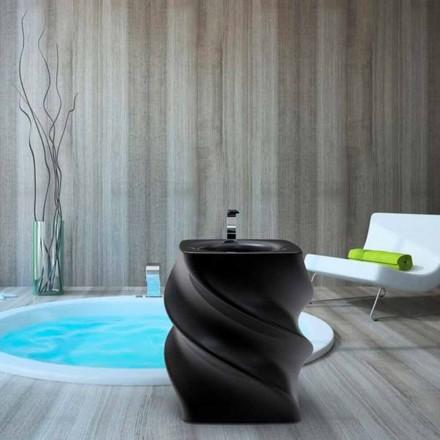 Moderne design fritstående sort håndvask Twist lavet i Italien