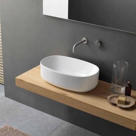 Oval moderne hvid keramisk køkkenvask - Ventori1