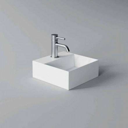 Firkantet eller rektangulært moderne design Keramisk håndvask lavet i Italien - akt