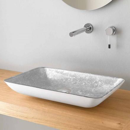 Rektangulær håndvask til køkkenbordet i glas af høj kvalitet fremstillet i Italien - Wandor