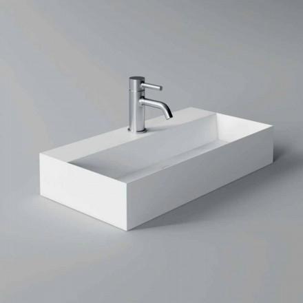 Moderne rektangulær bordplade eller ophængt håndvask 60x30 cm i keramik - akt