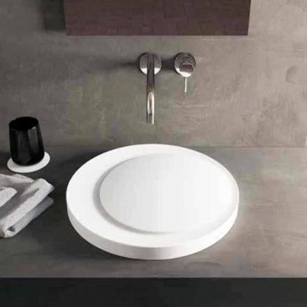 Design rund bordplade håndvask i Luxolid Solid Surface Crema