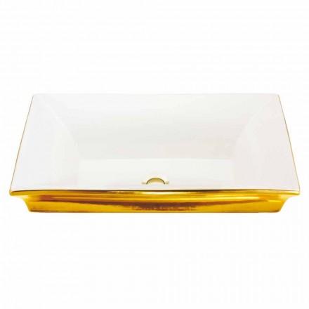Moderne semi-forsænket vask i ild ler og 24 karat guld, Guido