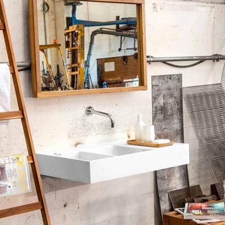 Vægmonteret håndvask / fritstående med beholder i Solid Surface Enna