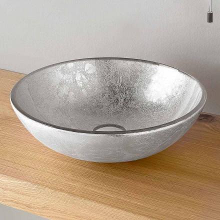 Rund bordhåndvask dekoreret i sølv, kobber eller guldblad - Wandor