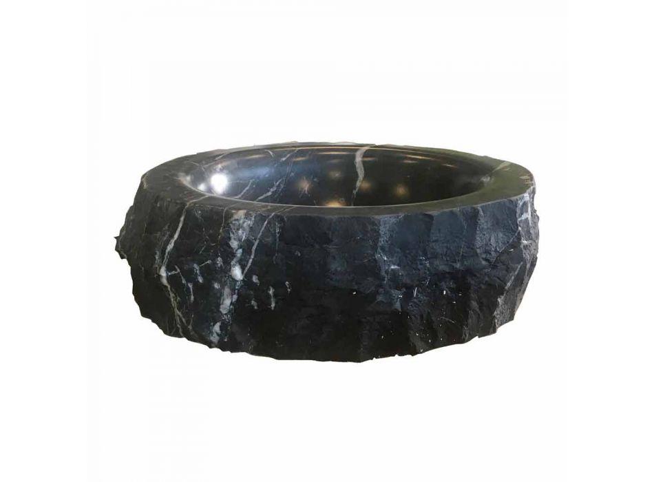 Rund bordplade håndvask i rå sort Marquinia-marmor fremstillet i Italien - Bernini