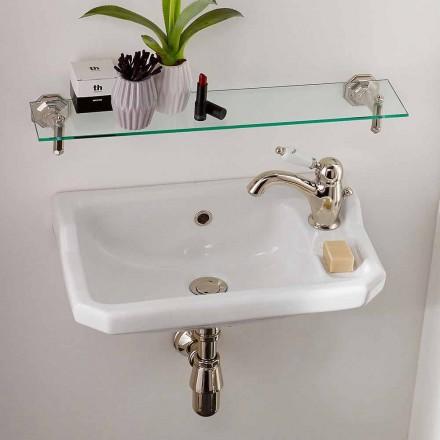 Hængende håndvask i klassisk designkeramik, fremstillet i Italien - Nausica