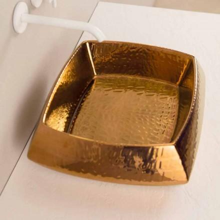 Designer håndvask i bronze keramik lavet i Italien Simon