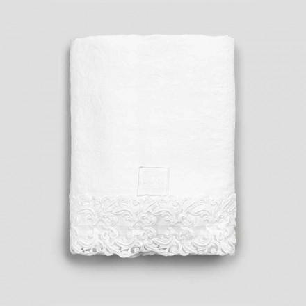 Hvid linned flad ark med blonder til dobbeltseng af høj kvalitet - Fiumana