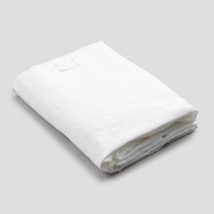 Hvid linned monteret ark til dobbeltseng, luksuriøst design lavet i Italien - Fiumano
