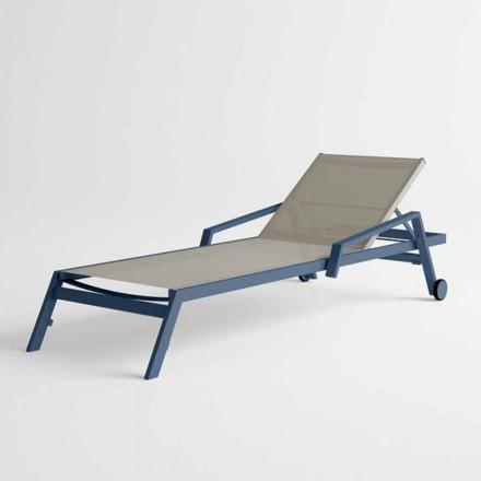 Udendørs solbad i aluminium med hjul og armlæn Moderne Design - Karmine
