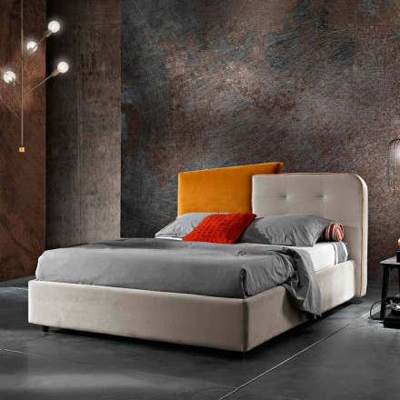 Dobbeltseng i moderne design i grå og orange fløjl - Plorifon