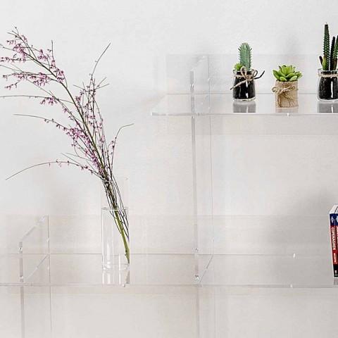 Bogreol transparent væg Sfera3 L180 x H180 x P30 cm, fremstillet i Italien