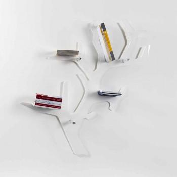 Bogreol hvid moderne design Carol Wall, lavet i Italien