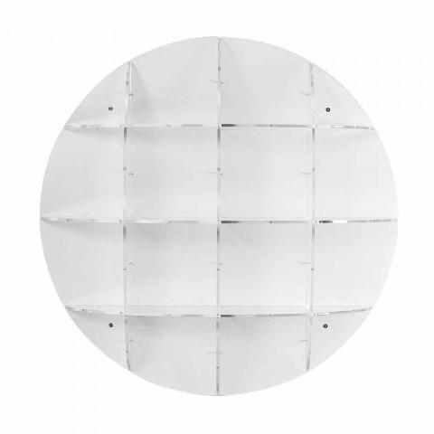 Bogreol hvid moderne design væg Thu, lavet i Italien